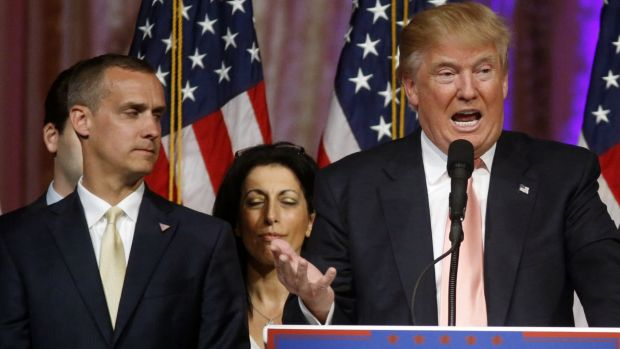 Corey Lewandowski, left, with Donald Trump at a campaign event earlier in March.