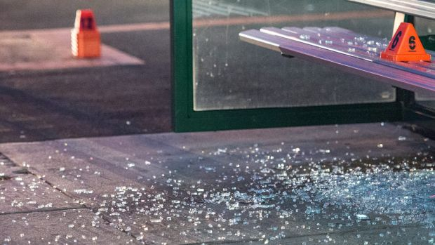 Shattered glass at the scene of the shooting at Caulfield South.