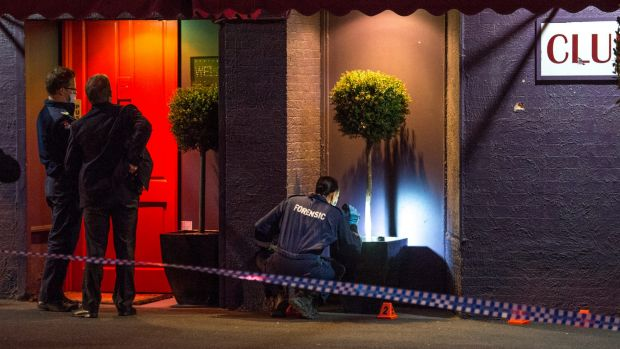 Police investigate the scene of a drive-by shooting in Caulfield South on Wednesday.