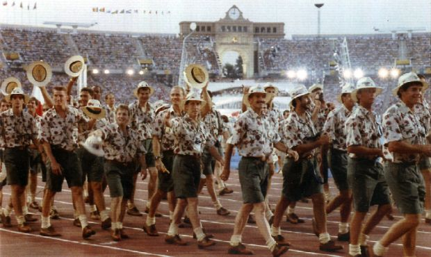 The Australian Olympic team at the Opening Ceremony of the 1992 Barcelona Olympics.