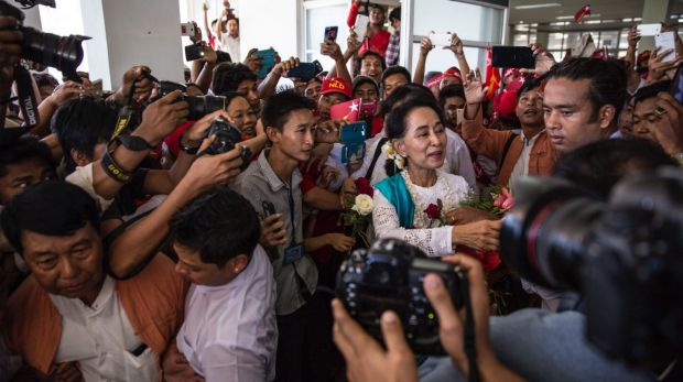 Aung San Suu Kyi in Rakhine in October last year, the first  time she had visited since 2002.