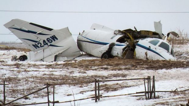 The wreckage of the plane that killed all seven on board.