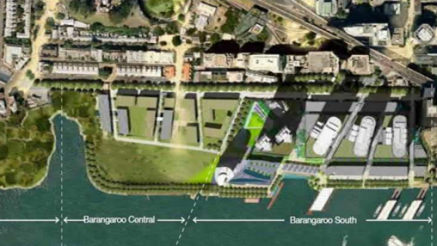 Aerial view of Barangaroo, showing northern park, central and casino podium.