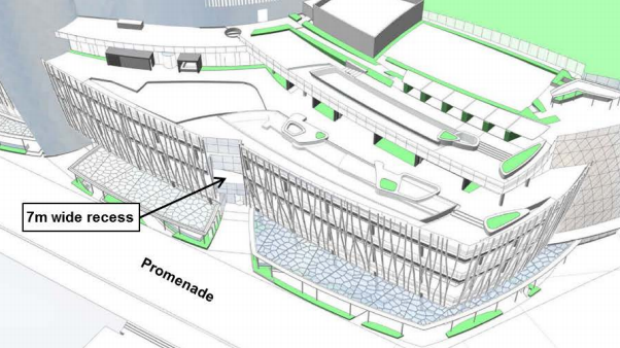 Changes to the proposed podium include include revised cladding and a seven-metre-wide recess.