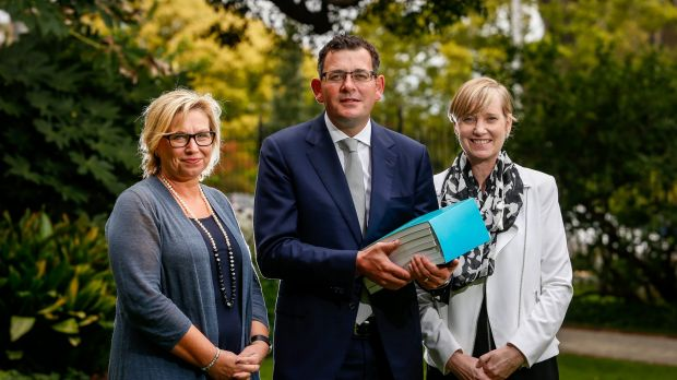 Victorian Premier Daniel Andrews  with former Australian of the Year, Rosie Batty, and Fiona Richardson, the Minister ...
