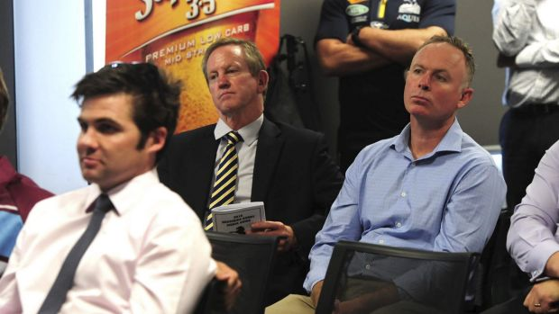 Brumbies board members Angus McKerchar, left, president Bob Brown, middle, and Matthew Nobbs, right, at the local rugby ...