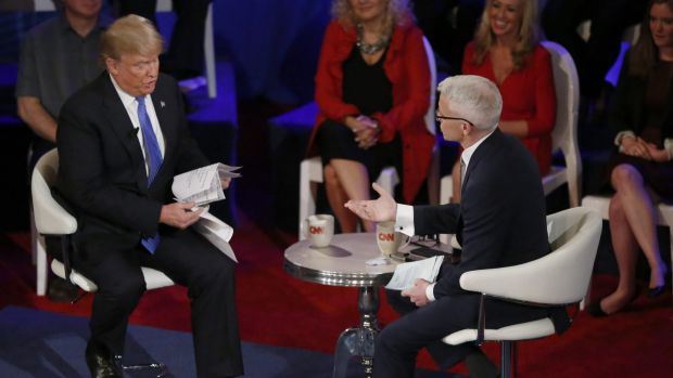 Republican presidential candidate Donald Trump in a CNN interview with Anderson Cooper on Tuesday.