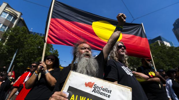 Invasion or settlement? Hundreds gathered at Spring Street to protest Australia Day, or Invasion day, on January 26 in ...