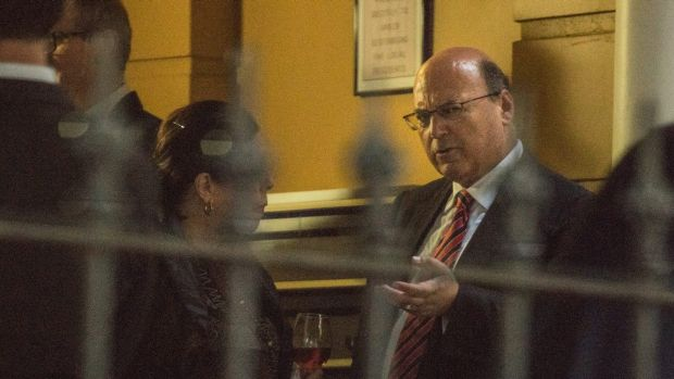 Liberal Senator Arthur Sinodinos arrives as the guest speaker at a  Liberal Party fundraiser at Rose Bay.