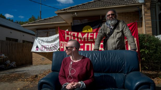 Kelly Whitworth and Joel Byron from the Homeless Persons' Union Victoria which wants the Andrews government to make the ...