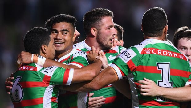 Close call: The Rabbitohs came out on top when the sides met in March.