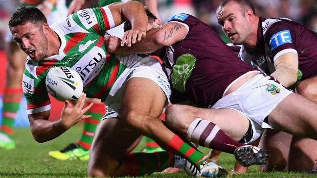 Back in business: Sam Burgess made life difficult for Manly on his return from injury.