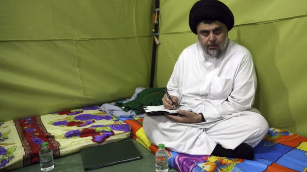 Shiite cleric Muqtada al-Sadr sitting inside his protest tent in Baghdad's fortified Green Zone.