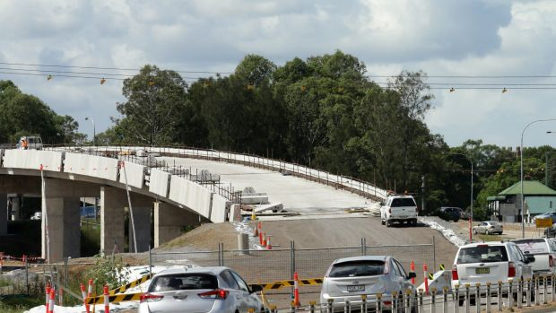 A new overpass being built on the New England Highway.