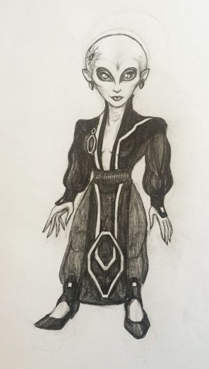 A drawing by Lea Kapiteli, 22, of an ET contactee.