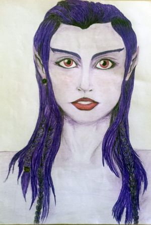 A drawing by Lea Kapiteli, 22, of an ET she says she has encountered.