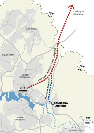 The planned, and an alternative, route for high speed rail into Canberra.