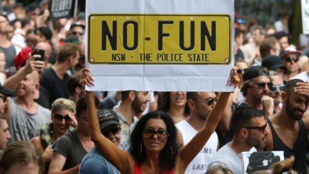 Thousands of people marched peacefully in Sydney, earlier this year, against the lockout laws.