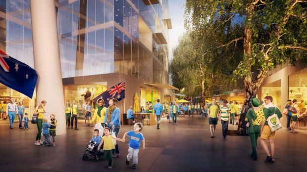 An artist's impression of proposed Manuka Oval redevelopment.