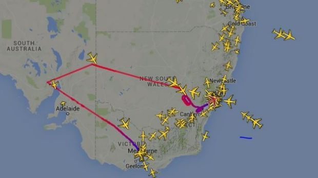 The flight path of Qantas flight QF9, which left Melbourne bound for Dubai but diverted to Sydney.