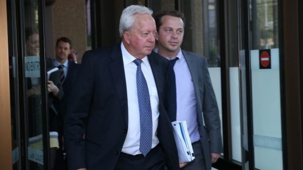 John McGuigan and his son James leave the Federal Court in Sydney.