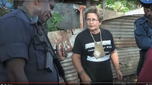 Dame Carol Kidu protesting at Paga Hill in May 2012 from the documentary <em>The Opposition</em>.