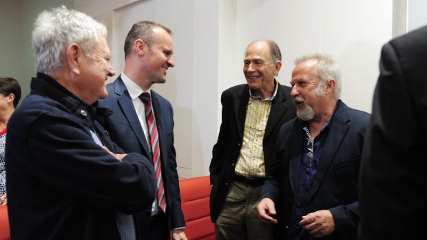 Chief Minister Andrew Barr, second from left, with former Labor figures Wayne Berry, second from right, and David ...
