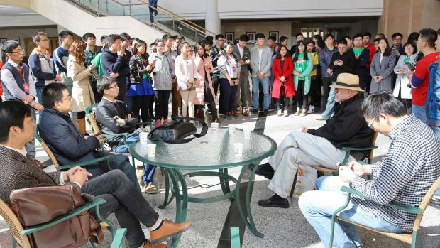 Participants of an event organised by accelerator Startup Salad gather at Tsinghua University in Beijing.