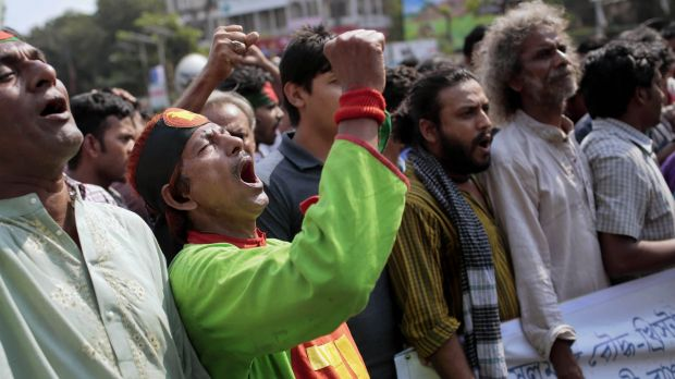 Bangladeshi activists in Dhaka last year called for a half-day strike to demand the arrest of the assailants of ...