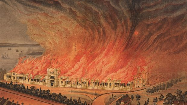 A lithograph depicting the burning of the Garden Palace on September 22, 1882.