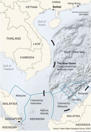 "A map showing part of China's ""nine-dash line"" in the South China Sea."