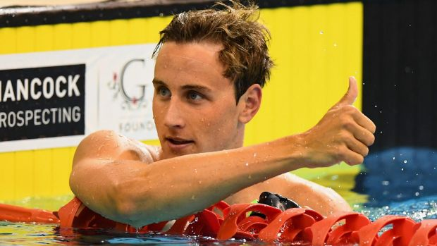 Man of the hour: Cameron McEvoy gives the thumbs up.