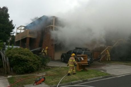 The fire in Geelong has gutted a two-storey brick home.