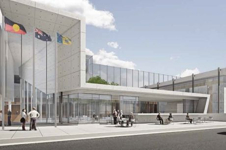 Artist impression of redeveloped ACT courts complex which would link existing Supreme Court and Magistrates Court