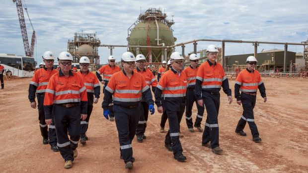 Malcolm Turnbull visits the Gorgon LNG project at Barrow Island.