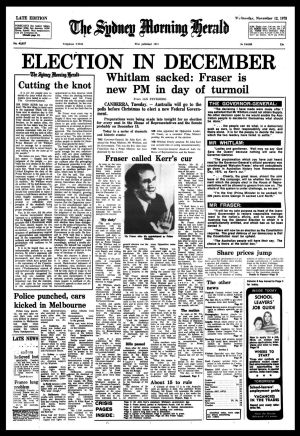 Front page of The Sydney Morning Herald from November 12 1975.