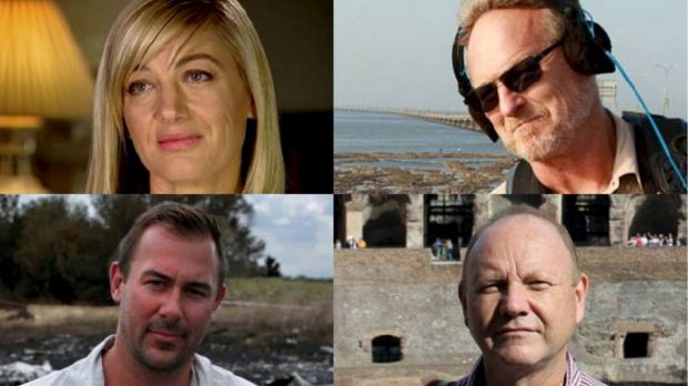 "The 60 Minutes team in custody in Lebanon: Tara Brown, David ""Tangles"" Ballment, Stephen Rice and Ben Williamson."
