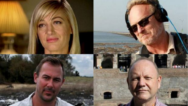 """The <i>60 Minutes</i> team who were detained in Lebanon: Tara Brown, David """"Tangles"""" Ballment, Stephen Rice and Ben ..."""