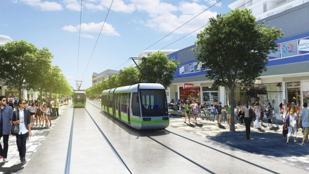 An artist's impression of light rail in Canberra.