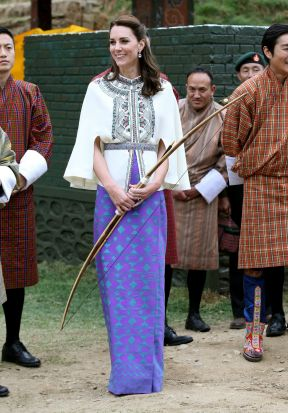 Catherine, Duchess of Cambridge arrives at a demonstration of Bhutanese sports at the National Stadium on April 14, 2016 ...