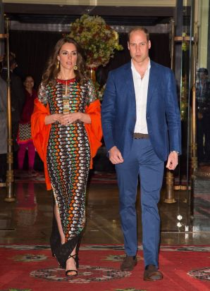 Catherine, Duchess of Cambridge and Prince William, Duke of Cambridge leave the Taj Tashi hotel to attend a dinner with ...