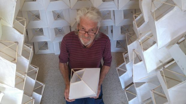 Lantern-maker and peace activist Graeme Dunstan, closeted with 185 lanterns.