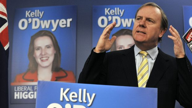 Former treasurer Peter Costello helps Kelly O'Dwyer launch her campaign to win the seat of Higgins in 2010.