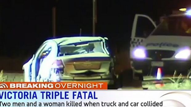 The car in which four people were travelling before it collided with a truck.
