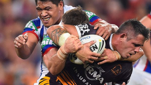 Workhorse: Corey Parker carries Sam Mataora and Tyler Randell.