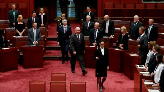 Governor-General Sir Peter Cosgrove opening  the second session of the 44th Parliament, in the Senate, at Parliament ...