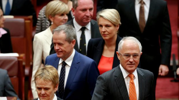 Prime Minister Malcolm Turnbull and Opposition Leader Bill Shorten arrive for the opening of the second session of the ...