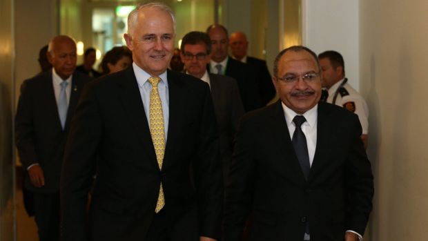 Prime Minister Malcolm Turnbull with PNG counterpart Peter O'Neill last year at Parliament House in Canberra.