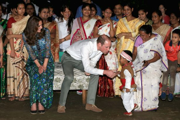 Catherine, Duchess of Cambridge and Prince William, Duke of Cambridge meet a young dancer as they watch dancing by the ...