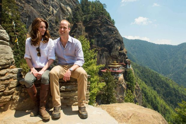Catherine, Duchess of Cambridge and  Prince William, Duke of Cambridge overlook the Tiger's Nest Monastery during a ...